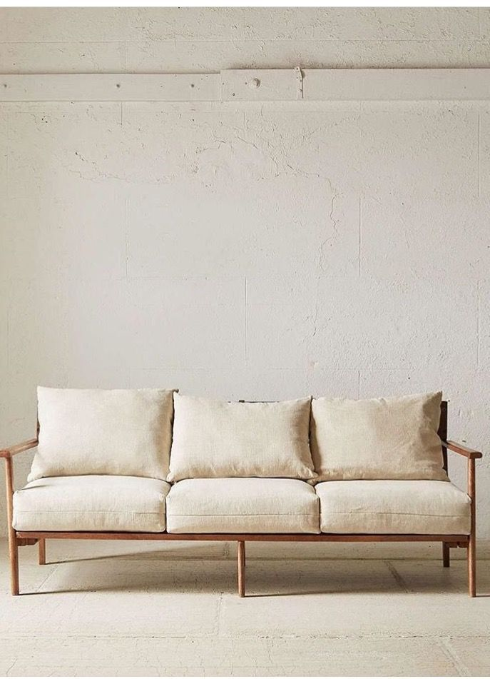 Simple Wood Frame Sofa With White