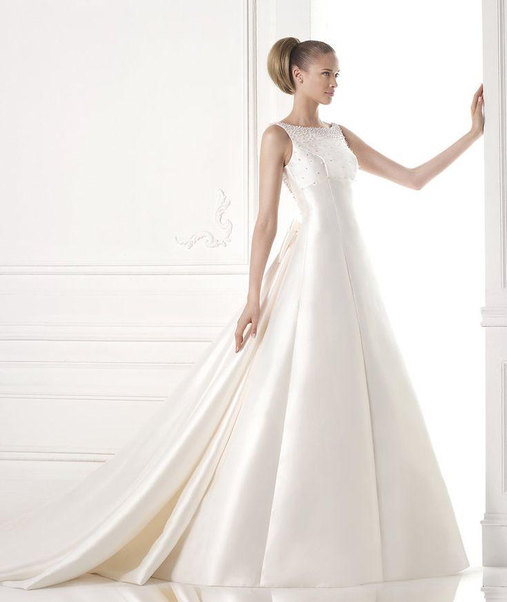MARIALIS. A-line mikado silk dress. Bateau bodice with ...