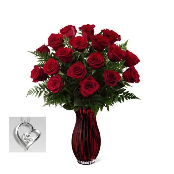 #bowmanvilleflowers #valentinesday #giftideas #roses #red #love #sparkleroses #chocolatecoveredstrawberries #teddy #bear The FTD® In Love with Red Roses Bouquet | Bowmanville, Courtice, Newcastle, Oshawa, Whitby Flower Delivery