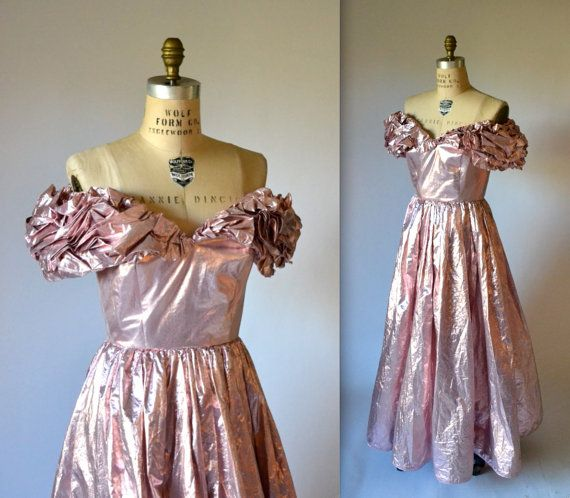 Pink Metallic 80s Prom Dress By Victor Costa Size Small