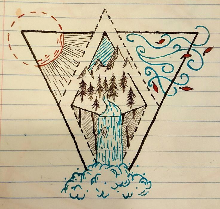 An idea for a tattoo with the four elements included.  By Colby Drake Design.