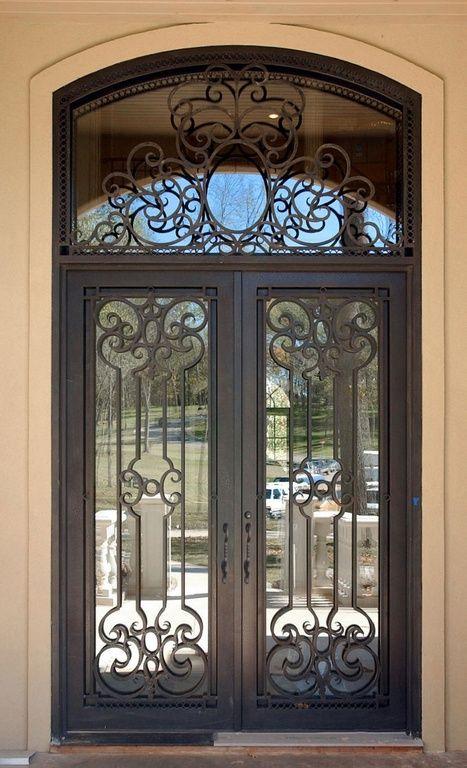 Mediterranean Front Door with French doors, Transom window, Abby Iron Doors PS1814-1
