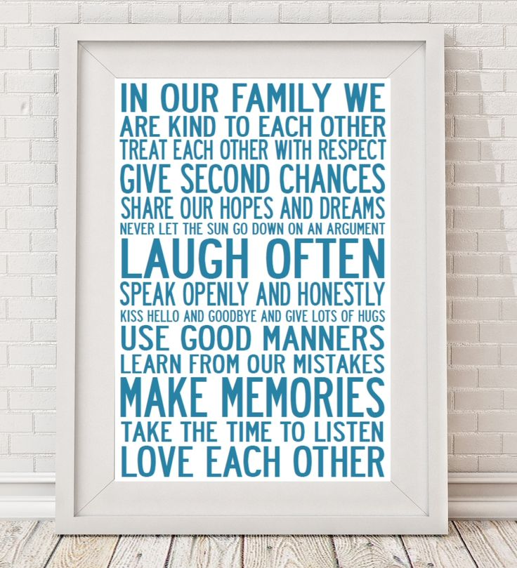 Family rules manifesto print or canvas | hardtofind.
