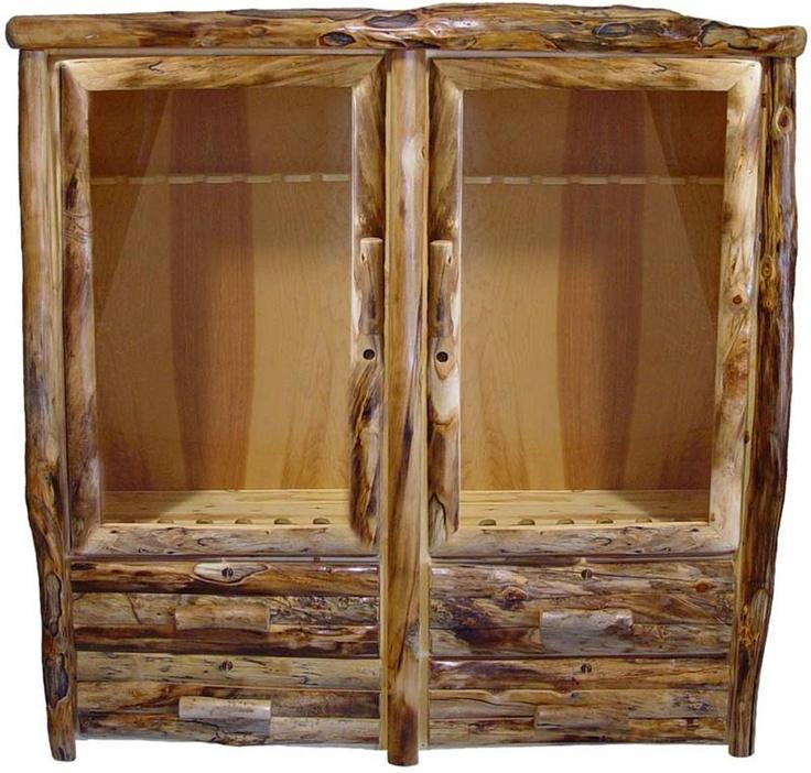 Aspen log gun cabinets coffee tables gun cabinets for Log cabin gunsmithing