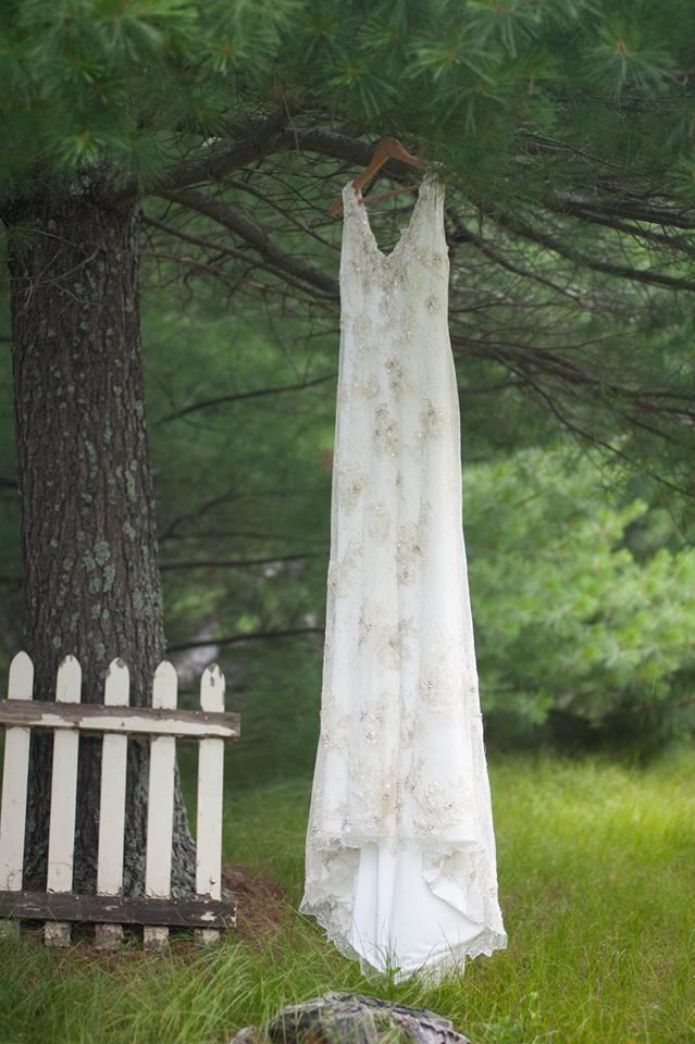 birch arch tree grove outdoor wedding wisconsin romantic venue unique vintage lace mason jars flowers navy farm woods woodsy pines rustic ceremony wooden sign diy ceremony reception from this day forward wedding dress pictures antique picket fence Burlap and Bells | Gallery  www.burlapandbells.com