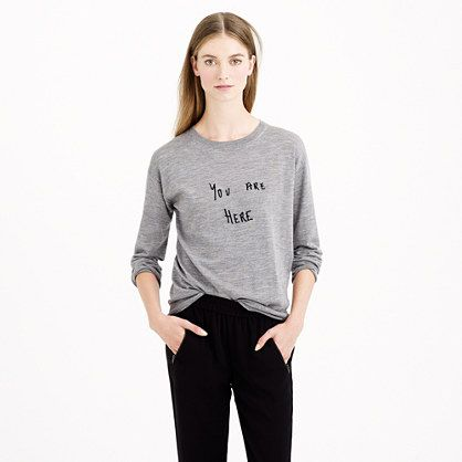 For the girl who hates being asked for directions, we teamed up with Brooklyn-based illustrator Hugo Guinness (known for his quirky handwriting and block prints) to add some extra-cheeky personality to one of our favorite merino layers. <ul><li>Relaxed fit.</li><li>Hits above hip.</li><li>Merino wool in a 14-gauge knit.</li><li>Rib trim at neck, cuffs and hem.</li><li>Dry clean.</li><li>Import.</li></ul>