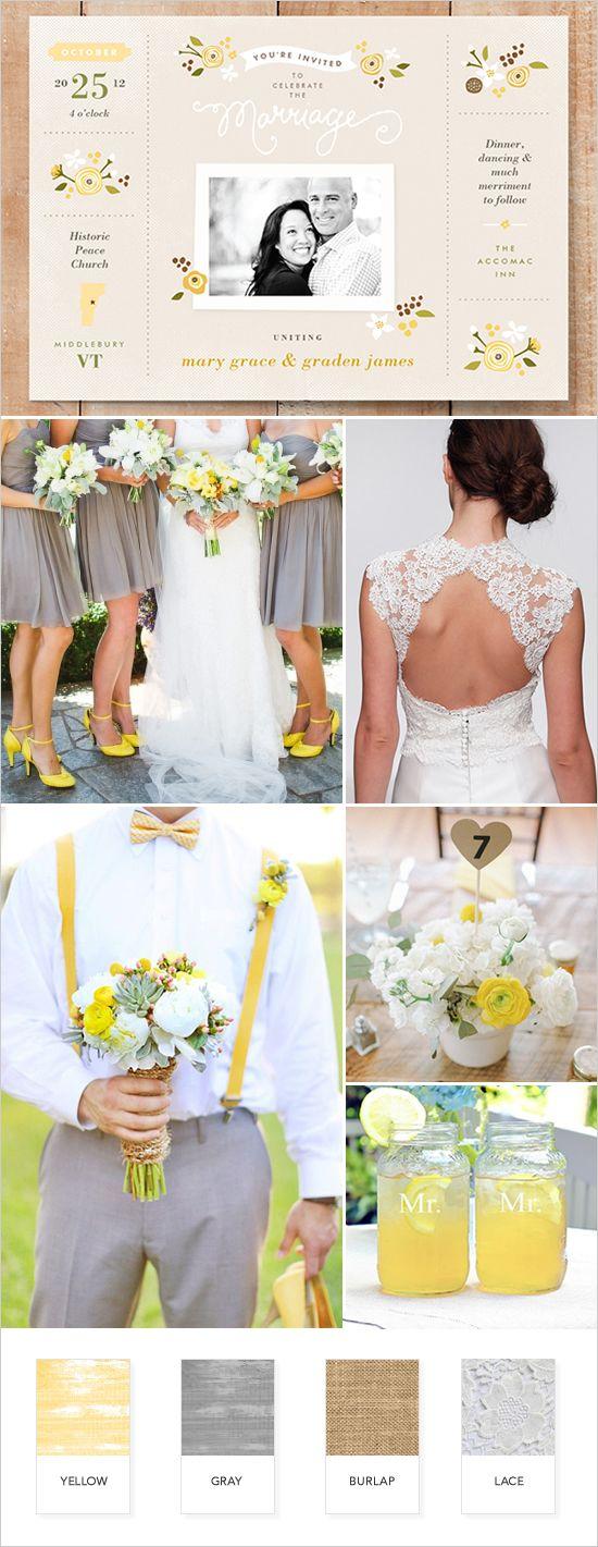 Yellow and gray rustic wedding ideas @weddingchicks