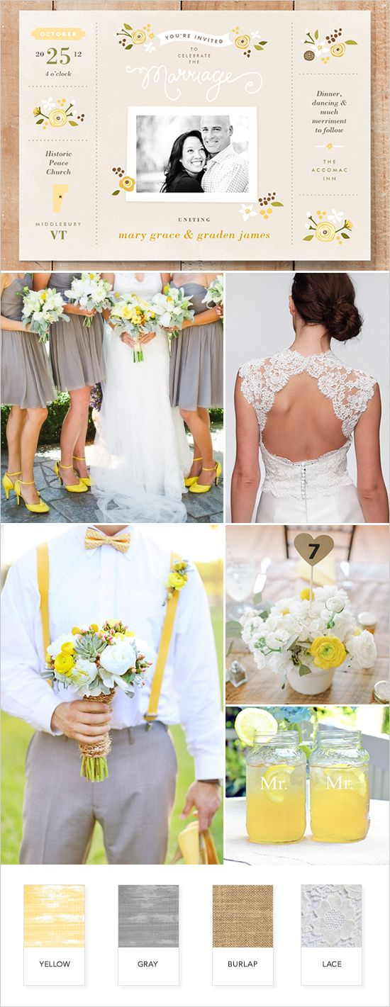 Yellow and gray rustic wedding ideas @weddingchicks
