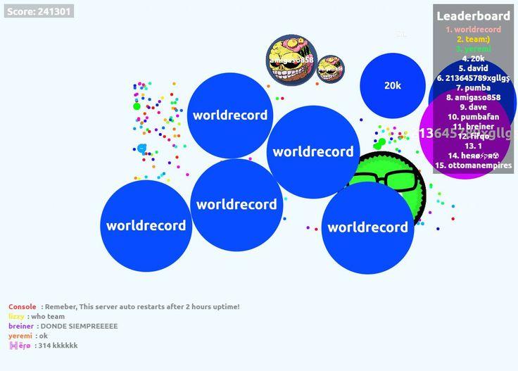 worldrecord biggest cell ever agar.io 241301 mass - Player: worldrecord / Score: 241301