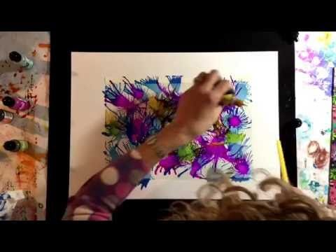Stunning alcohol ink effects using acetate/transparency film and a straw...