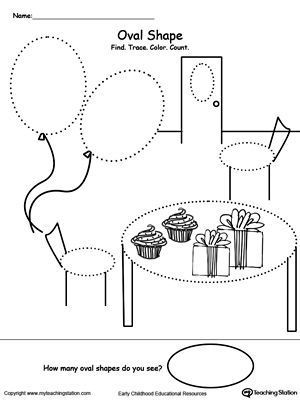 *FREE* Find, Trace, Color and Count Oval Shapes Worksheet. Practice pre-writing, fine motor skills and identifying Oval shapes with this printable tracing shapes worksheet.