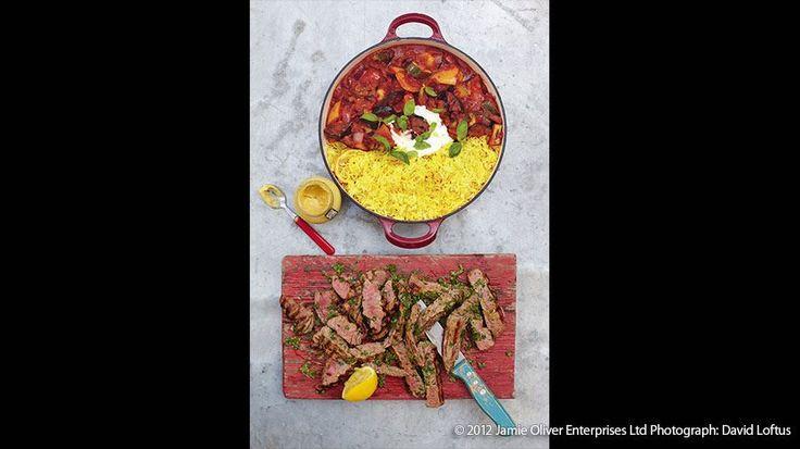 Grilled Steak Ratatouille and Saffron Rice