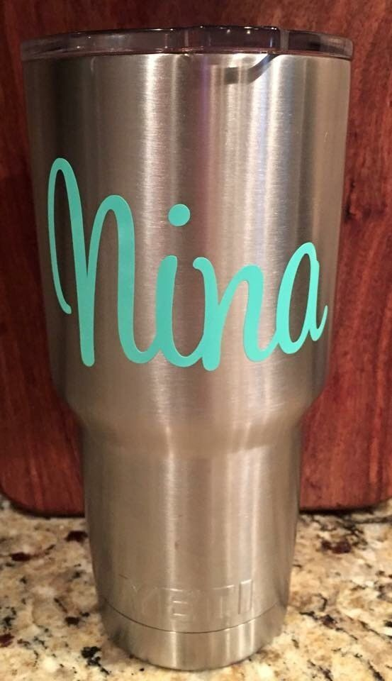 Your name custom decal sticker for your yeti rambler tumbler coldster script