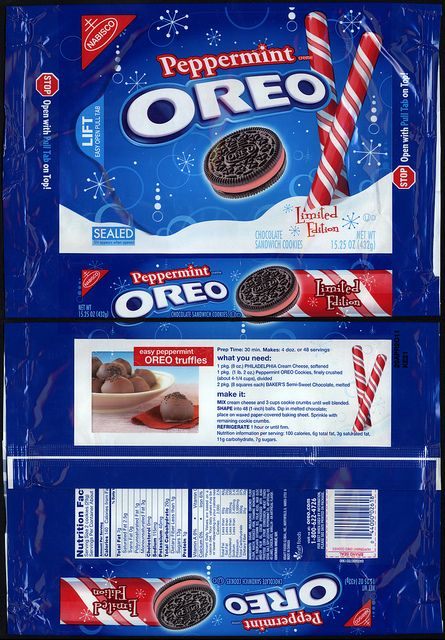 Nabisco - Oreo - Peppermint - cookie package - November 2010 by JasonLiebig, via Flickr
