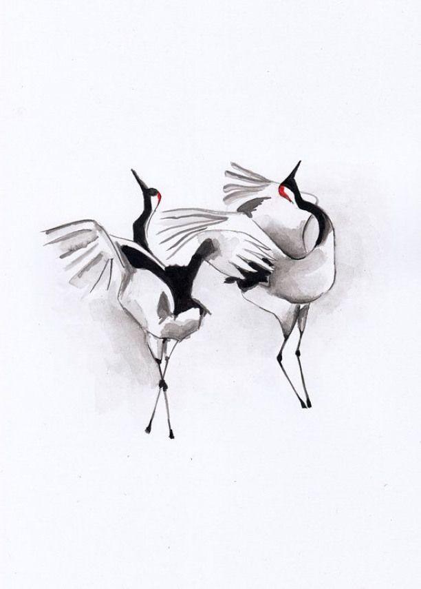 Japanese cranes mating ritual/ ORIGINAL ink by