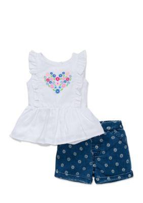 Little Me  2-Piece Flower Heart Shirt And Shorts Set - White - 12 Months