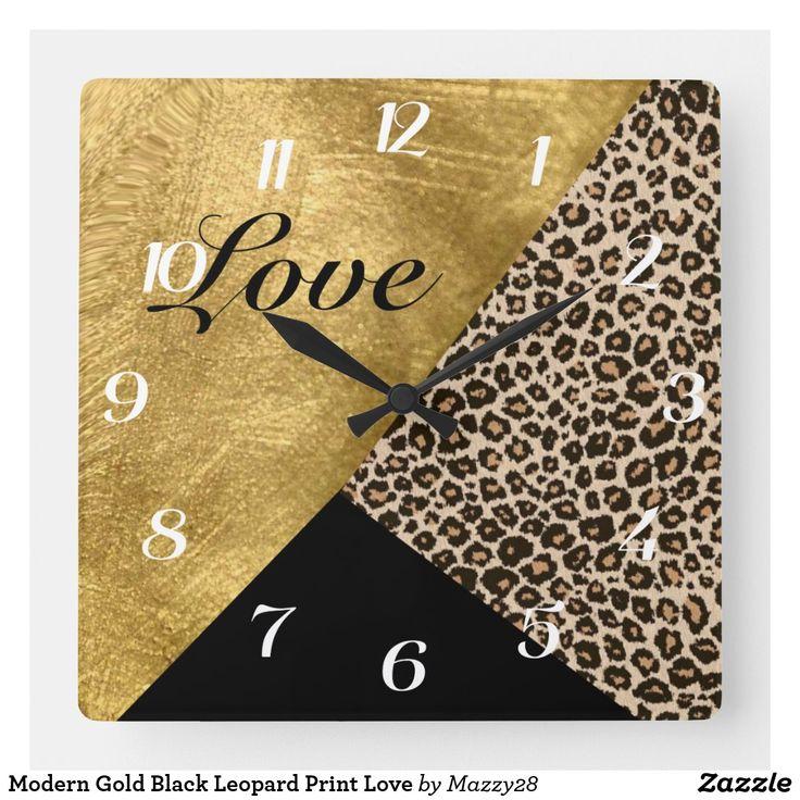Modern Gold Black Leopard Print Love Square Wall Clock