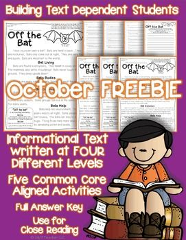 This FREEBIE has a full week of activities along with differentiated reading.  The passage is written at four levels that range from high first to mid fifth grade.  This gift to you can be used for standards based grading, weekly homework, guided reading, or quick formative assessments.