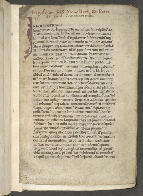 The Canterbury cartulary contains various papal and imperial privileges, including the confirmation of a privilege granted by Pope Innocent III and correspondence between Calixtus II (r. 1119–1124) and Henry V (r. 1111–1125), the Holy Roman Emperor, relating to the investiture controversy. Harley_ms_337_f001r
