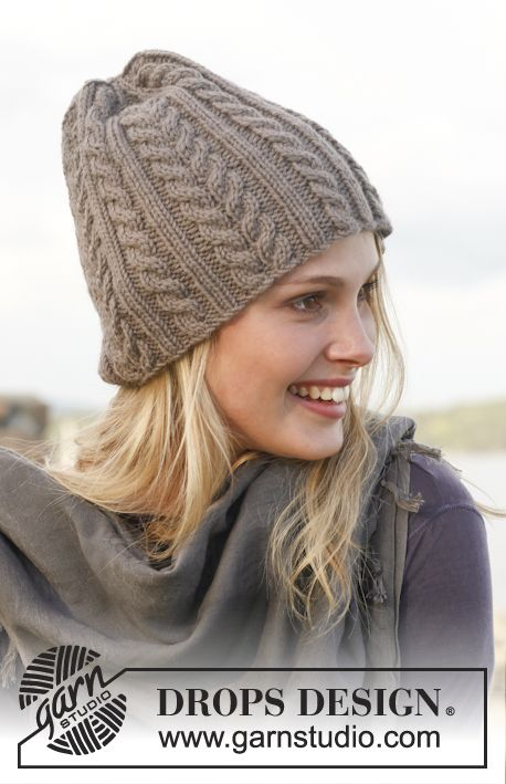 """Knitted DROPS hat with cables in """"Lima"""". ~ DROPS Design"""