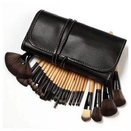 Set 32 Pinceles Maquillaje Profesional, Brochero Estuche - $ 850,00