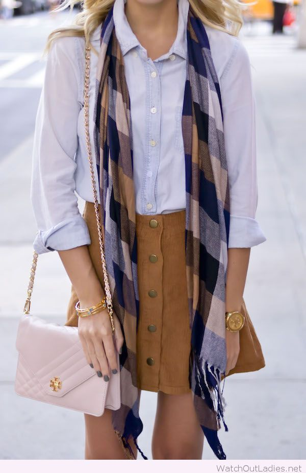 Brown skirt, blue shirt and accessories