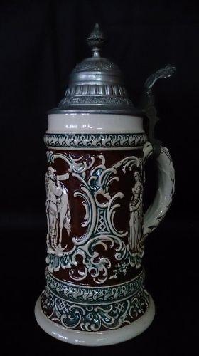 Stary Kufel Ceramiczny z Klapką Sygnatura