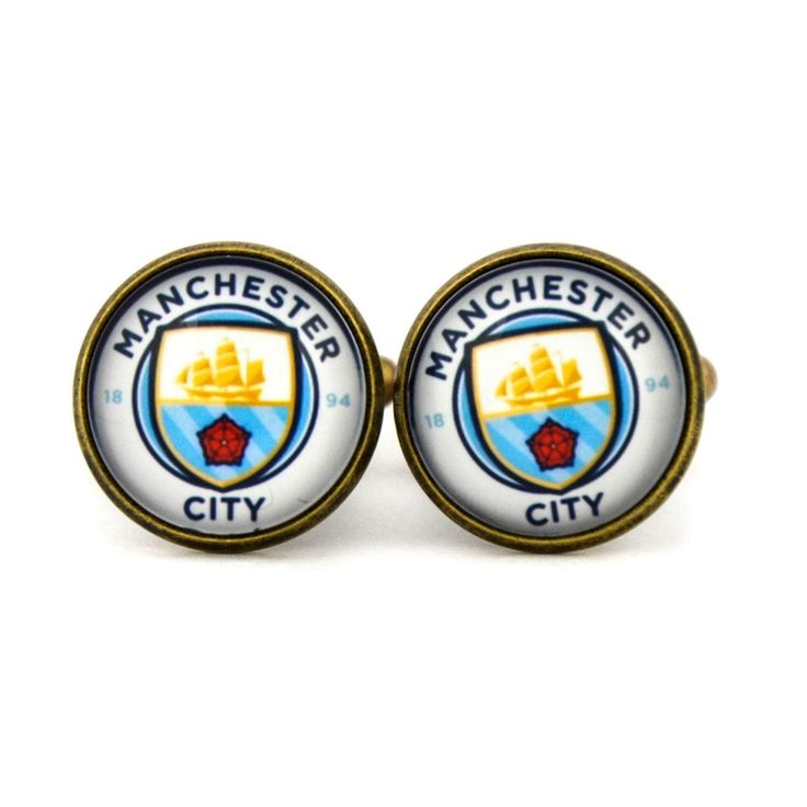 Manchester City F.C. Logo cufflinks. Manchester City Football Club. Personalised Silver Men's jewelry accessories gift. by Mysstic on Etsy
