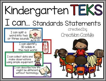 Kindergarten TEKS***Updated July 2014***Attention Texas teachers! Use this easy to prepare resource to post your daily or weekly TEKS and help students take ownership in their learning!What's Included?I have rewritten the TEKS standards in a more kid-friendly language.