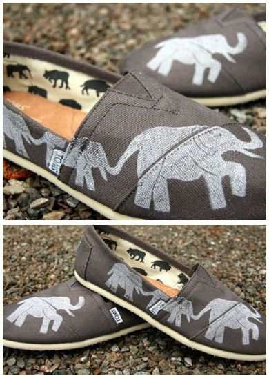 Grey Elephant Toms Shoes ♥ {trunks are all up for good luck} Kayla Swayze !!