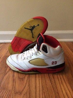 d5660802421 Nike Air Jordan 5 V Retro White Fire Red Black 2006 136027-162 Size 10  Trashed