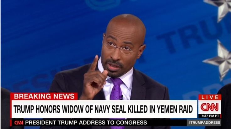 "From the man who infamously declared, on Election Night 2016, that Donald Trump's win over Hillary Clinton was ""whitelash"" to a black president, CNN commentator Van Jones had a vastly different tone Tuesday night. The President's address to a joint session of Congress was applauded by many for the emotional tone struck while speaking to the wife of slain Navy SEAL Ryan Owens; to which Jones declared ""He became President of the United States in that moment. Period."""