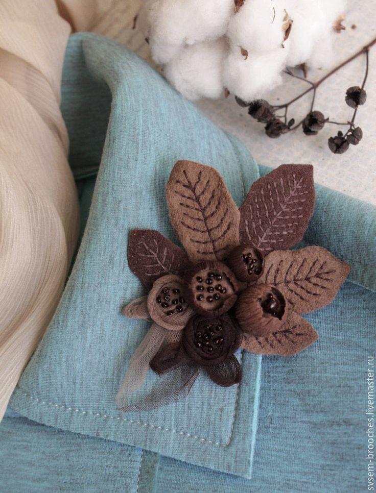 Купить Брошь Букет Шоколадный Микс - коричневый, семенова светлана, шоколад темный молочный