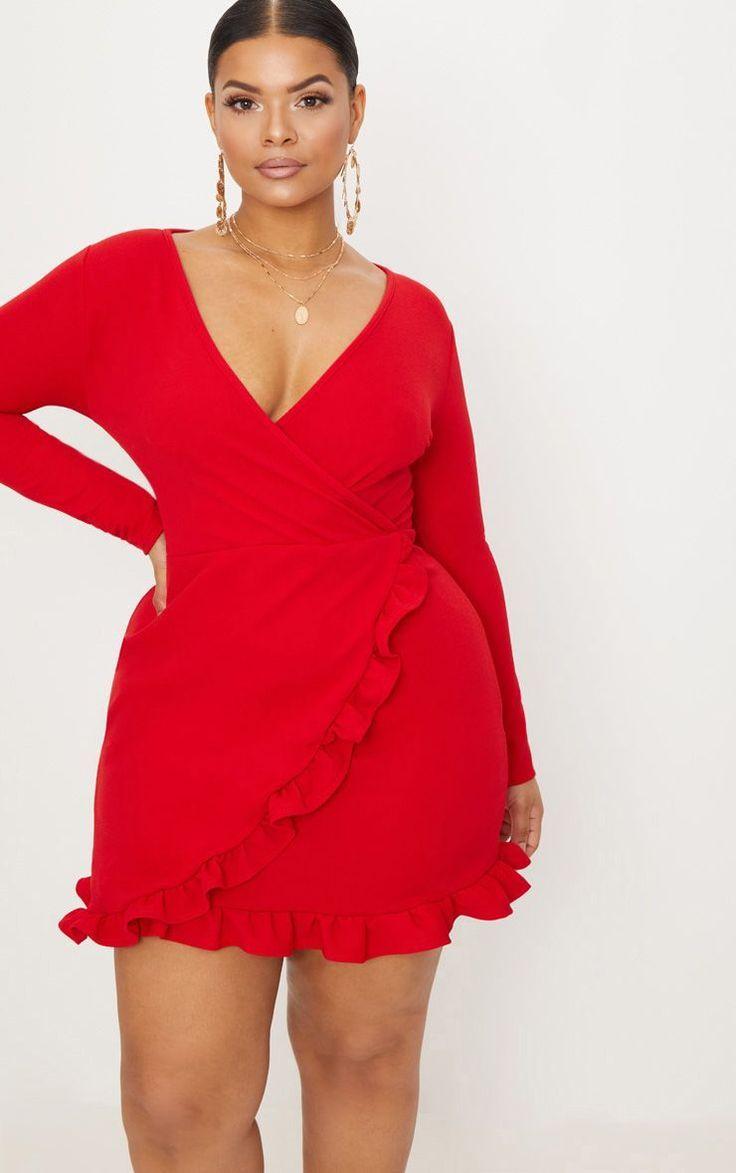 plus wickelkleid mit roten rüschendetails   plus size