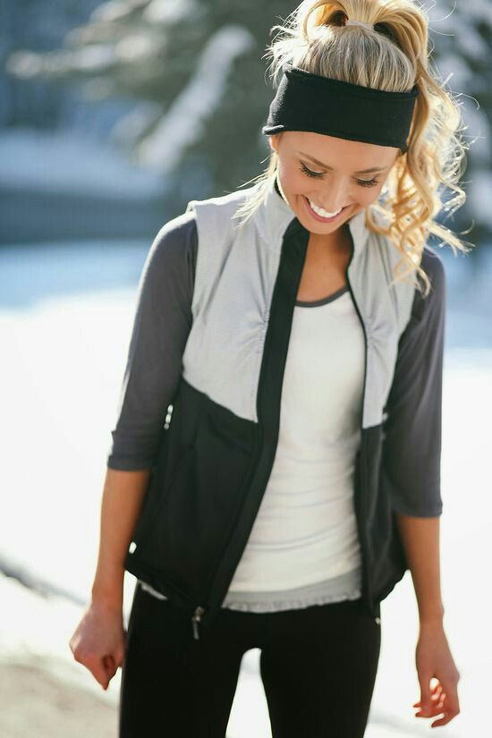 Cool or Cold Weather Wear: headband ear warmer, grey and white 3/4-length sleeve, with a grey and black vest, and black pants. adorable.