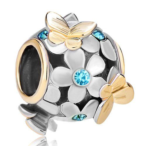Pugster 22k Gold Plated Aquamarine Blue Swarovski Elements Crystal Flower Golden Butterfly Bead Fits Pandora Charm Bracelets