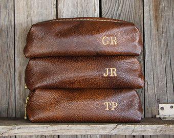 Custom Groomsmen Gift Leather Dopp Kit by LifetimeLeatherCo
