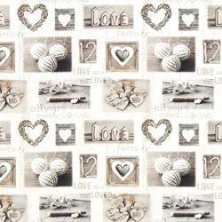 Cretonne collage di cuori e betulle – grigio