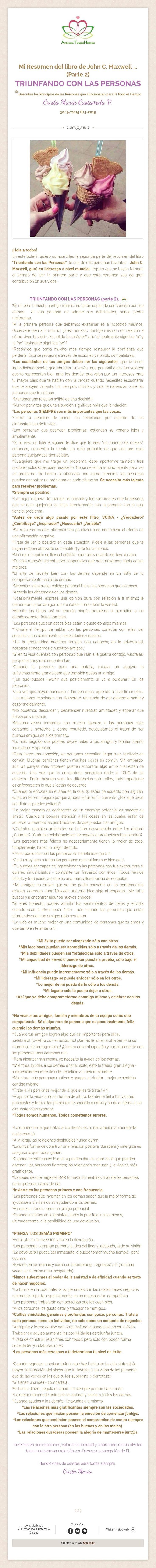 Mi Resumen del libro de John C. Maxwell ...(Parte 2)TRIUNFANDO CON LAS PERSONAS*Descubre los Principios de las Personas que Funcionarán para Ti Todo el TiempoCrista María Castañeda V. 30/9/2015 B13-2015