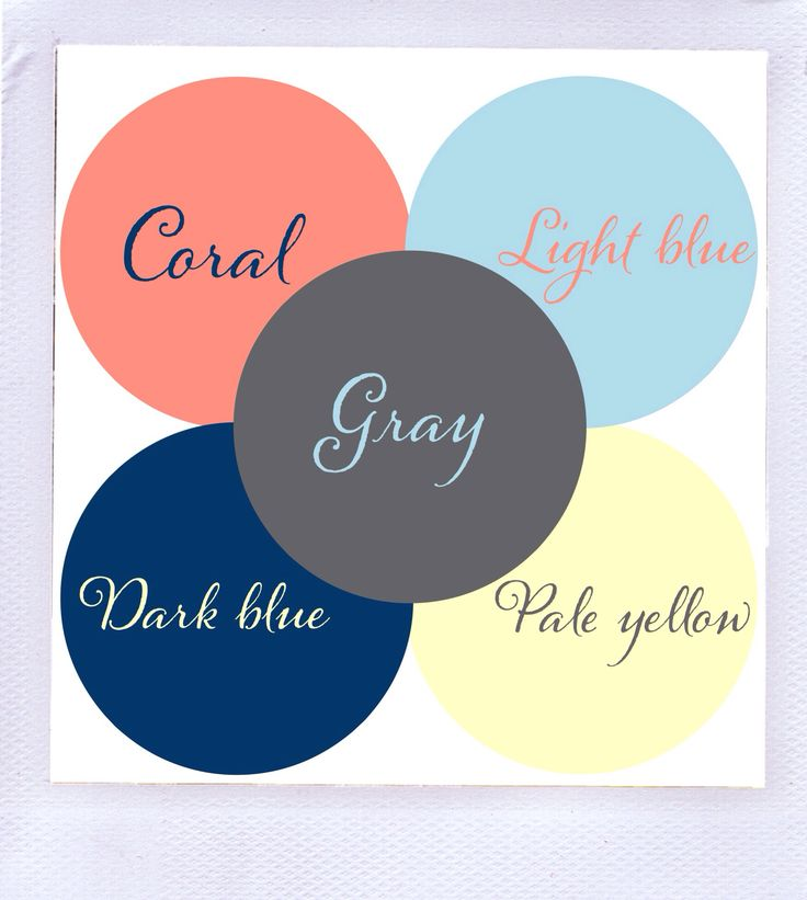 Color scheme? Gray, dark blue, light blue, coral & pale yellow