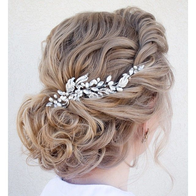 we ❤ this!  moncheribridals.com  #curlyweddingupdo #bridalupdo