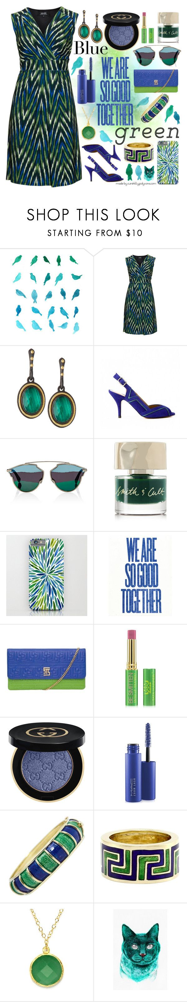 """""""We Are So Good Together: Blue & Green!"""" by curekitty ❤ liked on Polyvore featuring navabi, Armenta, Christian Dior, Smith & Cult, Tata Harper, Gucci, MAC Cosmetics, Cellino, Tiffany & Co. and BillyTheTree"""