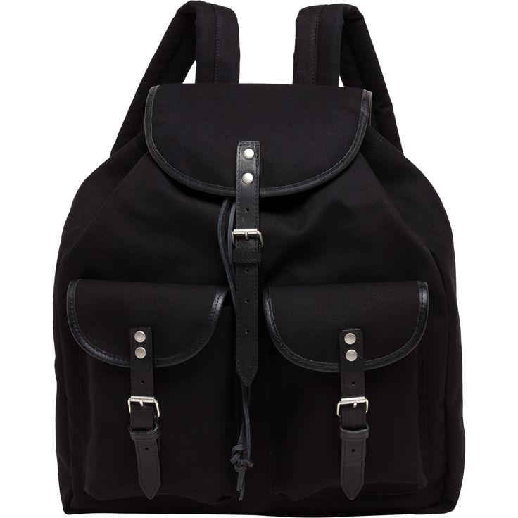sac a dos noir sac à dos en toile souple, rehaussé de détails cuir. Bretelles matelassées ajustables.