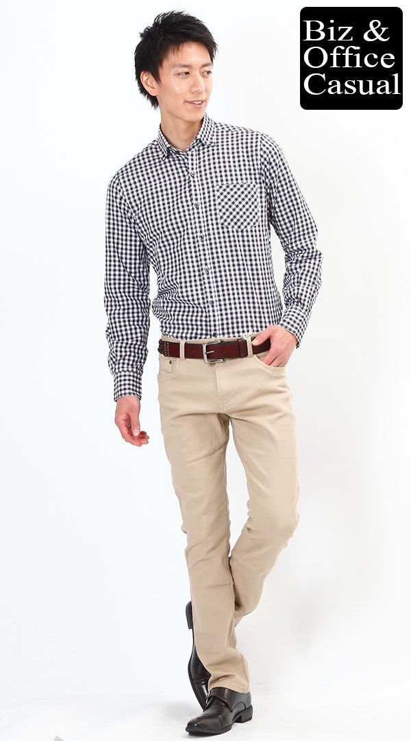 コーディネート画像 ギンガムチェックシャツ×チノパン ノーネクタイスタイル biz-cr0209