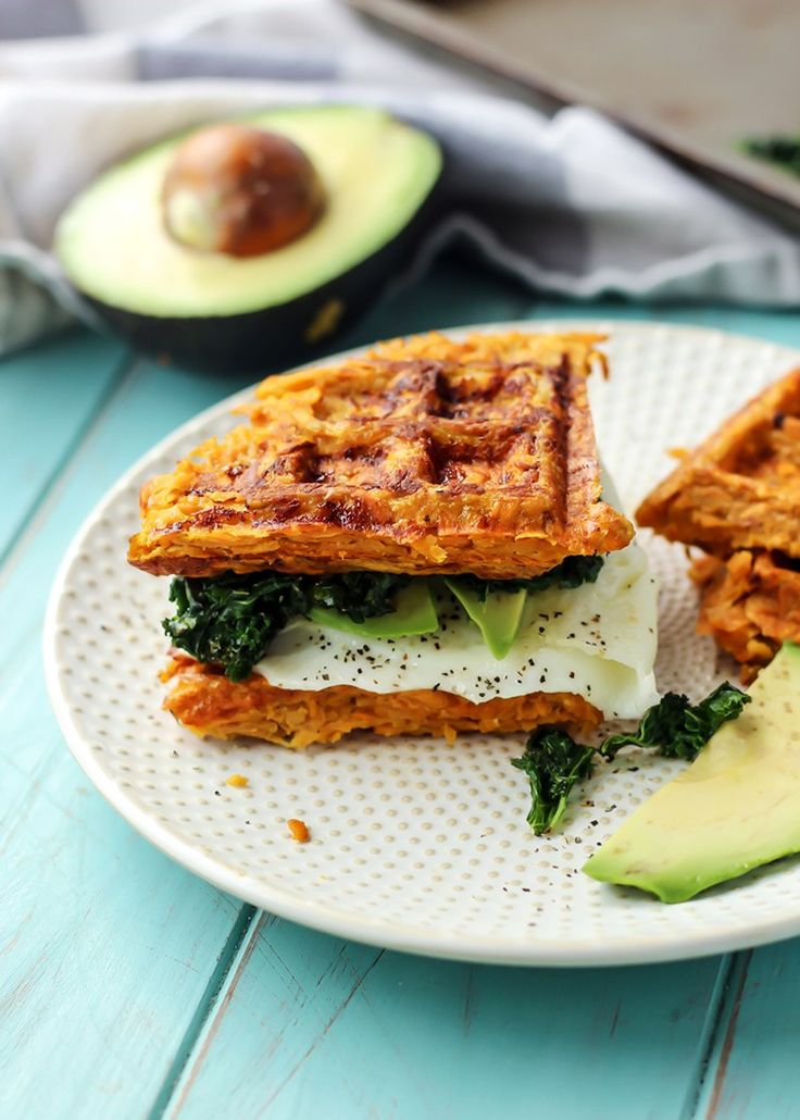 Sweet potato waffle sandwich for breakfast