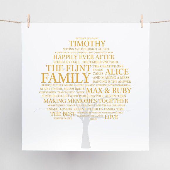 Family Tree Word Art Print
