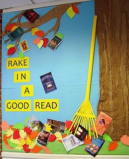 Cool fall bulletin board book display. Have students choose some of their favorite books to post. Like Miller says, there are tons of ways to find good recommendations!