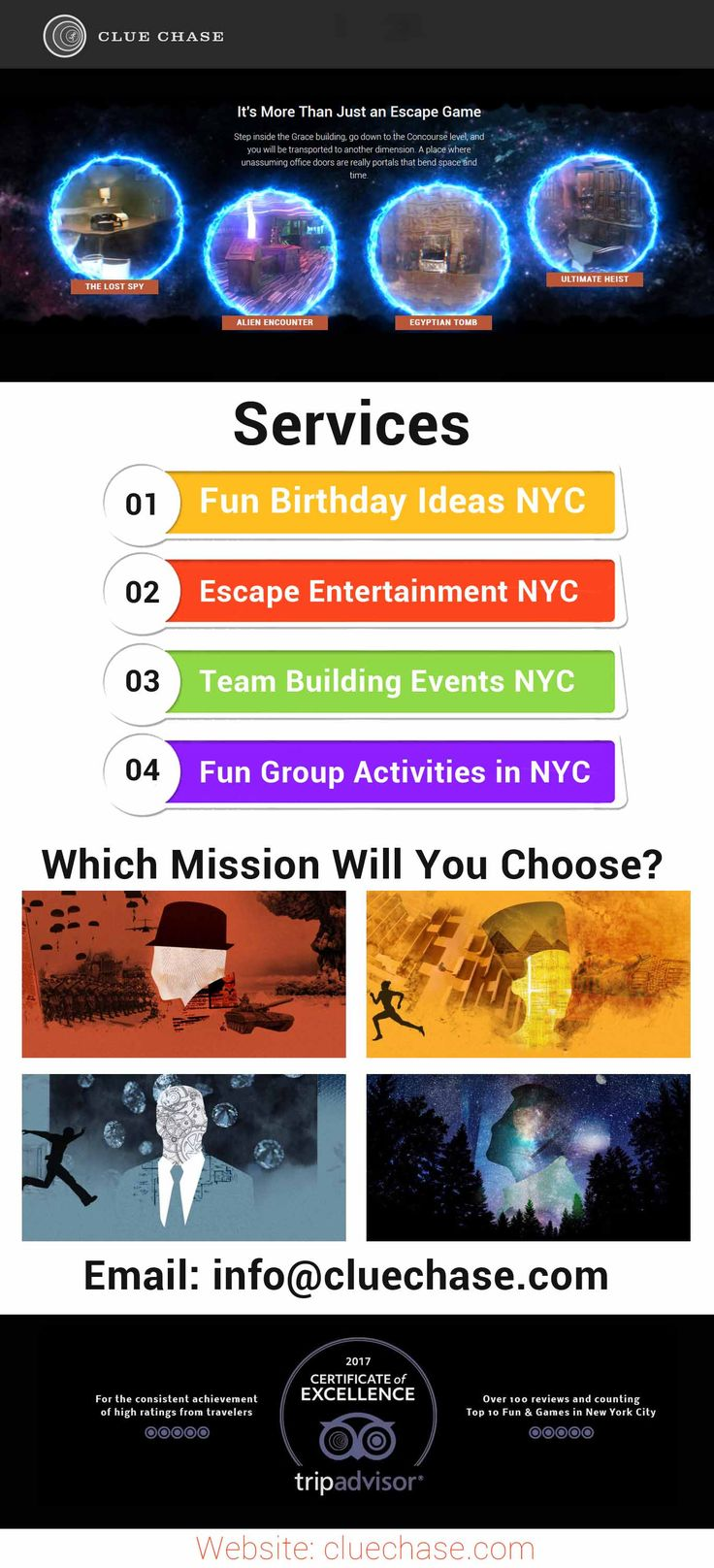 Experience the highest level of fun, adventure and enjoyment along with sharp your observation skills by taking full pleasure of fun group activities at Clue Chase in NYC. We offer the perfect team building activity for groups up to 100 or more which is suitable for law-firms, accounting firms, consultancies, schools and any group looking for a unique and fun experience.