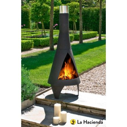 La Hacienda Colorado Medium Black Steel Chimenea. The Colorado chimenea's clean lines and modern designs also this chimenea is a functional source of heat. This will transform the look of your garden in a matter of minutes. So sit back, relax and let this fetching chimenea get to work.