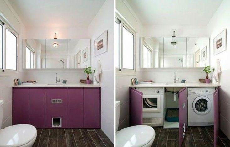 Cat Box in Bathroom with Washing Machine | Remodelista